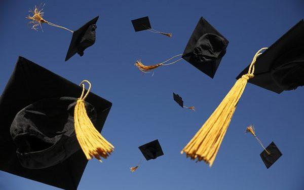 graduation, graduation caps in the air,